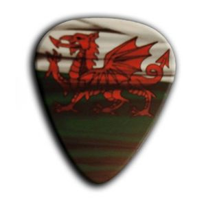 Unique and Custom (.76 MM Thick) Medium Gauge Hard Plastic, Traditional Style Semi Tip Guitar Pick w/Wales Welsh Dragon Flag UK British Design {Red, Green & White - 5 Picks Multipack}