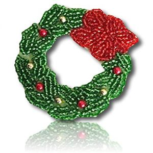"Beautiful & Custom {2.7"" Inch} 1 of [Sew-On & Glue-On] Embroidered Applique Patch Made of Beads w/Glazed Cookie Shaped Christmas Wreath w/Velvety Poinsetta Flower On Top Style {Green, Red, Gold}"