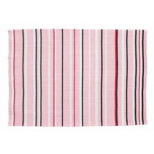 "Unique & Custom {13"" x 19"" Inch} Single Pack of Rectangle ""Non-Slip Grip Texture"" Large Table Placemat Made of Washable 100% Cotton w/ Simple Pin Striped Cafe Ribbed Woven Design [Pink, Red & White]"
