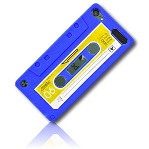 mySimple Custom Made FLEX-Gel Silicone Fitted Case for Apple iPod Touch 5th Gen w/Soft Flexible Shock Absorbing Bumper Guard Edge & Bright Classic Cassette Tape Design {Blue, Yellow, Black, White}
