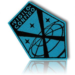 """[Single Count] Custom, Cool & Awesome {3.5"""" Inch} Pentagon Shaped Tactical Morale Xcom """"Vigilo Confido"""" Stripes & Stars Cosplay Badge Costume Embroidered Sew Iron On Patch """"Black & Blue"""" {LICENSED}"""