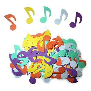"""Custom & Fancy {1"""" Inch} 75 Pieces of Large """"Table"""" Party Confetti Made of Premium Card Stock w/ Music Notes Rainbow Colors Decorative Crafts Design [Violet, Orange, Yellow, Purple & Green]"""