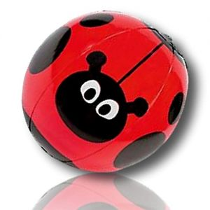 """ULTRA Durable & Custom {11"""" Inch} 1 Single Mid-Size Inflatable Beach Ball for Summer Fun, Made of Lightweight FLEX-Resin Plastic w/ Flower Plant Spotted Ladybug Fly Polka Dot {Red, Black & White}"""