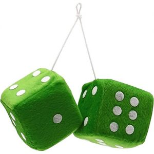 """Cool & Custom {3"""" Inch w/ String} Single Pair of """"Fuzzy, Furry & Fluffy Plush Dice"""" Rear View Mirror Hanging Ornament Decoration w/ Vintage Muscle Car 60s Design [Mazda Green and White Color]"""