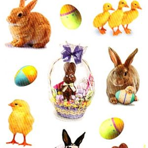 """Custom & Decorative {1"""" x 2"""" Inch} 36 Piece Pack of Mid-Size Stickers for Arts, Crafts & Scrapbooking w/ Realistic Bunnies, Chicks & Duckies w/ Chocolate Bunny in Easter Basket {Multicolor}"""