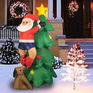 Sunlit 5ft Lighted Airblown Christmas Tree with Dog and Climbing Santa Inflatable Yard Decoration with Blower and Adaptor for Festive Indoor Porch Outdoor Decor
