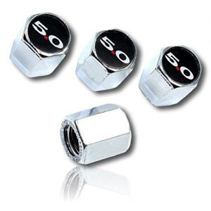 (4 Count) Cool & Custom Tire Wheel Rim Valve Stem Cap Cover Seal w/ Easy Grip Texture, Made of Hardened Rubber w/ Ford 5.0 Logo Mirrored Gloss Shiny Bright Reflective Finish Glass Style {Multicolor}