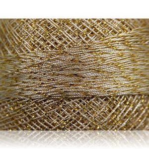 """Fabulous Crafts {2070 Total Yards /200g} 10 Cakes Pack of Durable"""" Size 0 Lace Weight Fingering"""" Yarn for Knitting, Crochet & More, Made of 70% Polyester & 30% Lurex w/Lebanese Style {Cream & Gold}"""