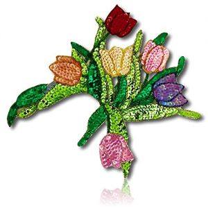"""Beautiful & Custom {9"""" Inch} 1 of [Sew-On & Glue-On] Embroidered Applique Patch Made of Beads & Sequins w/Ravishing Gorgeous Flower Arrangement Bouquet w/Different Shade Flowers Style {Multicolored}"""