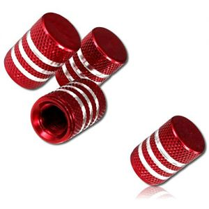 (4 Count) Cool & Custom Tire Wheel Rim Valve Stem Cap Cover Seal w/ Easy Grip Texture, Made of Anodized Aluminum Metal w/ Shiny Opaque Metallic Reflective Bright Horizontal Stripes Style {Red & White}