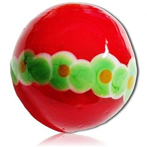 """Custom & Decorative {1"""" Inch} 1 Big-Size """"Round"""" Glass Marbles w/Beautifully Handmade Hawaiian Solid Bright Light Ring Circles of Flowers Floral Neon Shooter Style [Red, Green & White] + Certificate"""
