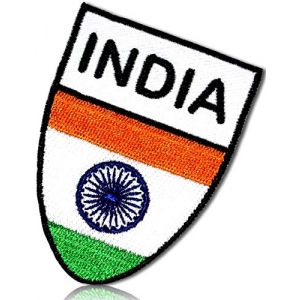 "Unique & Custom {2"" x 2.75"" Inch} 1 of [Glue-On, Iron-On & Sew-On] Embroidered Applique Patch Made of Natural Cotton w/Travel India Country National Flag Shield {White, Green, Orange} + Certificate"