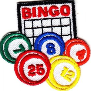"""BINGO"" CARD & BINGO BALLS - IRON ON EMBROIDERED PATCH - GAMES, GAMBLING"
