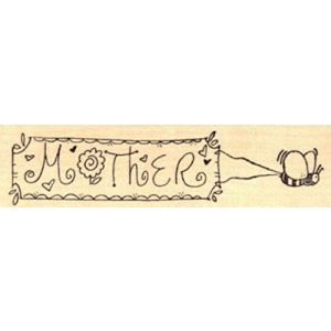 """{Single Count} Unique & Custom (2.75"""" by 1.5"""" Inches) """"Fun and Silly Insects Mom Happy Mother's Day Bee Carrying Mother Text Banner Scene"""" Rectangle Shaped Genuine Wood Mounted Rubber Inking Stamp"""