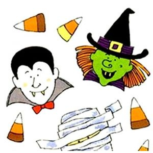 "Custom & Decorative {0.25"" to 1"" Inch} 91 Piece Pack of Small Stickers for Arts, Crafts & Scrapbooking w/ Cartoon Costume Wearing People Halloween Witch, Mummy, Vampire & Frenkin Style {Multicolor}"