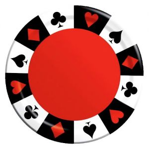 "Custom & Unique {9"" Inch} 8 Count Multi-Pack Set of Medium Size Round Circle Disposable Paper Plates w/Classic Poker Car Game Black Jack Casino Chips Party Event ""Black, Red & White Colored"""