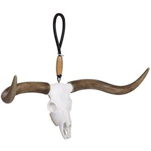 "Cool & Custom {3"" x 7"" Inch w/ 5"" String Hang} Rear View Mirror Hanging Ornament Decoration Made of Flexible Poly Mold w/ Animal Wildlife Big Rack Longhorn Design [VW Brown and White Colored]"