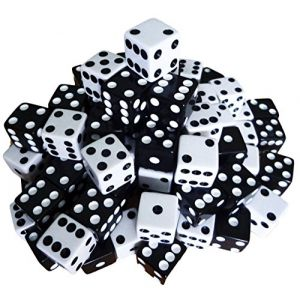 Custom & Unique {Standard Medium 16mm} 200 Ct Wholesale Bulk Lot Pack of 6 Sided [D6] Square Cube Shape Playing & Game Dice Made of Plastic w/ Classic Design [Assorted Colors White, Black]