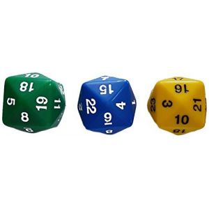 Custom & Unique 3 Ct Pack Set of 24 Sided [D24] Icosikaitetragon Shape Playing & Game Dice Made of Plastic w/ Rounded Corner Edges w/ Classy Number Bold Gloss Design [Bright Green, Yellow & Blue]