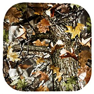 "Custom & Unique {8"" Inch} 25 Count Bulk Multi-Pack Set of Medium Size Square Disposable Paper Plates w/Forest Foliage Cammo Camouflage ""Brown, Orange & Green Colored"" w/Matching Cups & Napkins"