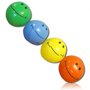 """ULTRA Durable & Custom {6"""" Inch} 18 Bulk Pack of Small-Size Inflatable Beach Balls for Summer Fun, Made of Lightweight FLEX-Resin Plastic w/ Happy Smiling Expressive Emoji Face Style {Multicolor}"""