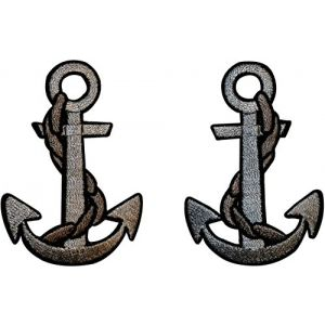 """Lot of 2 1/"""" Purple Gold Nautical Anchor Embroidery Patch"""