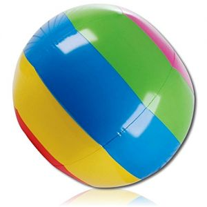 """ULTRA Durable & Custom {48"""" Inch} 3 Pack of Mid-Size Inflatable Beach Balls for Summer Fun, Made of Lightweight FLEX-Resin Plastic w/ Bright Radiant Light Pastel Rainbow Striped Tint {Multicolor}"""