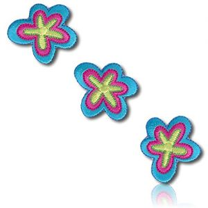 """[3 Count Set] Custom and Unique (1"""" x 1"""" Inch) """"Fashion"""" Classic Retro Vintage Hippie Style Flowers Blossoms Blooms Buds Floral Floret Iron On Embroidered Applique Patch {Blue, Lime Green & Hot Pink}"""