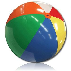 """ULTRA Durable & Custom {10"""" Inch} 1 Single of XXLarge-Size Inflatable Beach Ball for Summer Fun, Made of Lightweight FLEX-Resin Plastic w/ Retro Thick Alternating Solid Wedge Stripe Style {Multicolor}"""