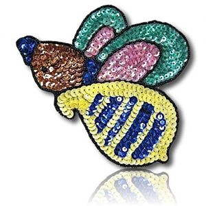 """Beautiful & Custom {6"""" X 4.5"""" Inch} 1 of [Sew-On & Glue-On] Embroidered Applique Patch Made of Sequins & Beads w/Different Shade Exotic Bumble Bee Flying in The Air w/Beaded Border {Multicolored}"""