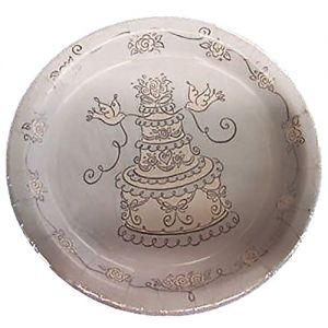 "Custom & Unique {9"" Inch} 8 Count Multi-Pack Set of Medium Size Round Circle Disposable Paper Plates w/ Fancy Layered Wedding Cake w/ Doves Celebration Party Pattern ""Silver & White Colored"""