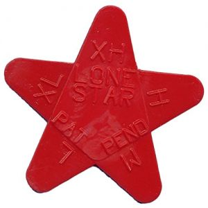 """Unique and Custom (.71 MM Thick) Medium Gauge Hard Plastic, Traditional Style """"Semi Tip"""" Guitar Pick w/ Awesome Simple Geometric Lone Star Design {Blood Red - One Single Pick} Star Shaped"""