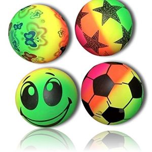 Custom & Unique {177mm} 24 Lot Pack, Mid-Size Super High Bouncy Balls, Made of Grade A+ Rebound Rubber w/ Abstract Neon Color Rainbow Butterflies Stars Smile & Soccer Ball Pattern Style (Multicolor)