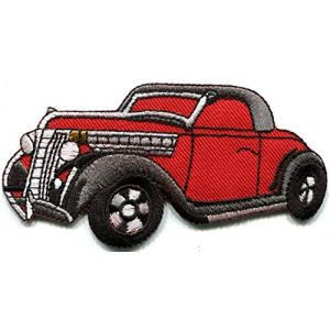 1930s classic car coupe jalopy red embroidered applique iron-on patch new S-1345