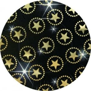 "Custom & Unique {10.5"" Inch} 8 Count Multi-Pack Set of Large Size Round Circle Disposable Paper Plates w/Hollywood Star Collage Walk of Fame Attraction Party Black & Gold Colored"""