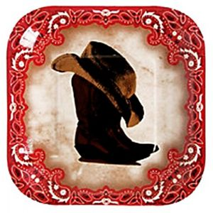 "Custom & Unique {7"" Inch} 32 Count Multi-Pack Set of Medium Size Square Disposable Paper Plates w/Western Boots & Cowboy Hat Party ""Red, White, Black Tan & Brown Colored"" w/Matching Napkins"