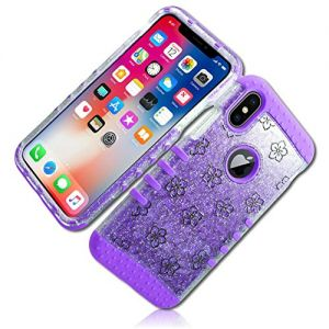 mySimple 3 Piece SECURE-Fit Rubberized Gel Hybrid Case w/2 Layered SHOCKPROOF Protection for Samsung Galaxy Note 8 w/Sparkly Glittered Floral Flowers & Vines Style {Purple, Black, Silver, Clear}
