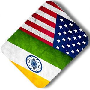 "Custom & Decorative {9.25"" x 7.75"" Inch} 1 Single, Mid-Size ""Basic"" Flexible Non-Slip Mousepad for Gaming, Made Of Easy-Glide Neoprene w/ USA American Flag & India Half Style [Multicolor]"