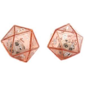 Custom & Unique {XL Big Large 24mm} 2 Ct Pack Set of 20 Sided [D20] Icosigon Shape See-Through Playing & Game Dice Made of Plastic w/ Rounded Corner Edges w/ 2-In-1 Design [Red, Black & White]
