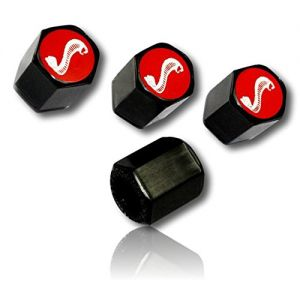 (4 Count) Cool & Custom Tire Wheel Rim Valve Stem Cap Cover Seal w/ Easy Grip Texture, Made of Hardened Rubber w/ Ford Mustang Snake Animal Logo Smooth Polish Surface Matte Style {Black, Red & White}