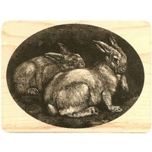 "{Single Count} Unique & Custom (4"" by 3"" Inches) Easter Bunny, Rabbits In The Woods Round Circle Shaped Genuine Wood Mounted Rubber Inking Stamp"