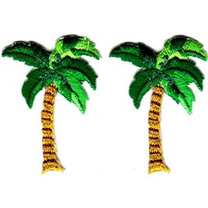 "PALM TREE GOLD metallic 1 3//8/"" high x 1 1//8/"" wide IRON ON PATCH APPLIQUE"