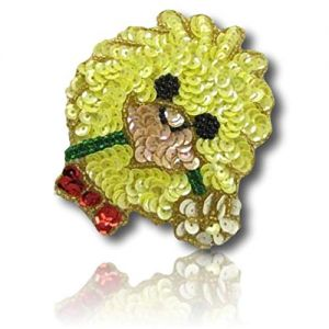 """Beautiful & Custom {3.5"""" x 3"""" Inch} 1 of [Sew-On & Glue-On] Embroidered Applique Patch Made of Sequins & Beads w/Cute Tiny Fluffy Baby Chicklet w/Flower in Mouth & Adorable Bow Style {Multicolored}"""