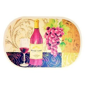 """Unique & Custom {12"""" x 18"""" Inch} Set Pack of 4 Oval """"Flat & Smooth Texture"""" Large Table Placemats Made of Flexible Vinyl w/ Rustic Wine Grape Pinot Noir Jacquard Design [Colorful Tan, Purple & Green]"""