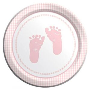 "Custom & Unique {9"" Inch} 8 Count Multi-Pack Set of Medium Size Round Disposable Paper Plates w/ Cute Baby Girl Foot Prints Plaid Baby Shower Party ""Light Pink & White Colored"""