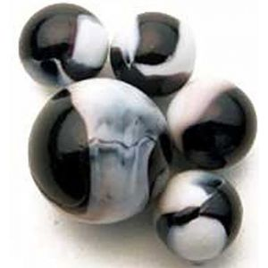 """Unique & Custom {5/8"""" Inch} Set Of 25 """"Round"""" Opaque Marbles Made of Glass for Filling Vases, Games & Decor w/ Elegant Simple Swirled Oceanic Orca Inspired Design [White & Black Colors] w/ 1 Shooter"""