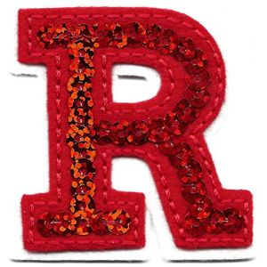 """[Single Count] Custom and Unique (2"""" by 1 3/4"""" Inches) """"Alphabet"""" Letter R American Flashy Letters Sequin Script Bold Capital Iron On Embroidered Applique Patch {Red & White Colors}"""