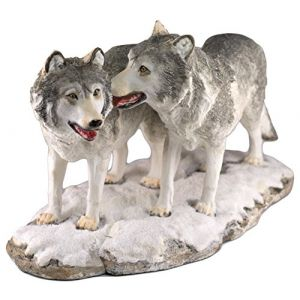 """Custom & Unique {11.75"""" x 6"""" Inch} 1 Single, Large Home & Garden """"Standing"""" Figurine Decoration Made of Grade A Resin w/ Two Wolves Standing Together On Snow Style {Grey, White, Black}"""