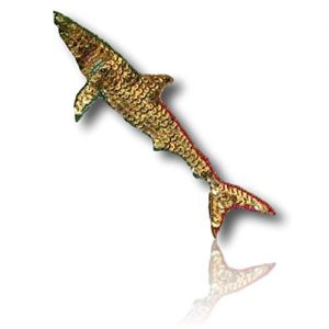"""Beautiful & Custom {7"""" x 2.5"""" Inch} 1 of [Sew-On & Glue-On] Embroidered Applique Patch Made of Beads & Sequins w/Gilded Rusty Looking Deep Sea Shark w/Awesome Beaded Outline Design {Multicolored}"""