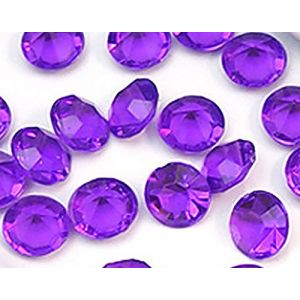 Custom & Fancy {8mm} Approx 1,000 Small Round Circles of Table Decorating & Vase Filler Wedding Party Confetti Made of Faux Acrylic w/ Crystal Clear Diamond Gem Jewel Design [Translucent Purple]